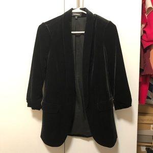 Express Velvet 3/4 Sleeve Blazer